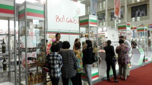 Many people visited booth of Bulgaria and tasted Rose Drops Organic Drincable water